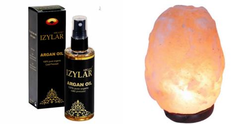 Olio d'Argan 100% + Lampada di Sale Himalaya