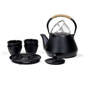 SET: teiera Tetsubin da 1 l con piatto 4 tazze