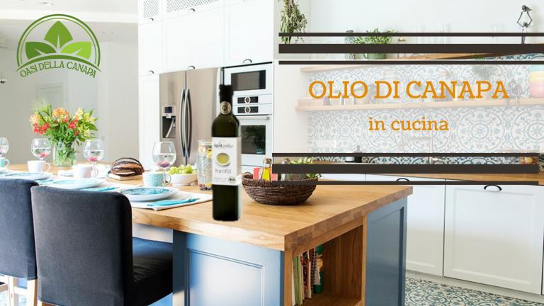 Cucina attrezzata con olio di canapa sul tavolo