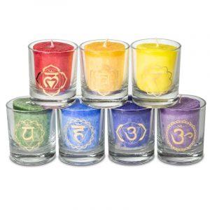 Set: 7 candele votive Chakra profumate confezione regalo